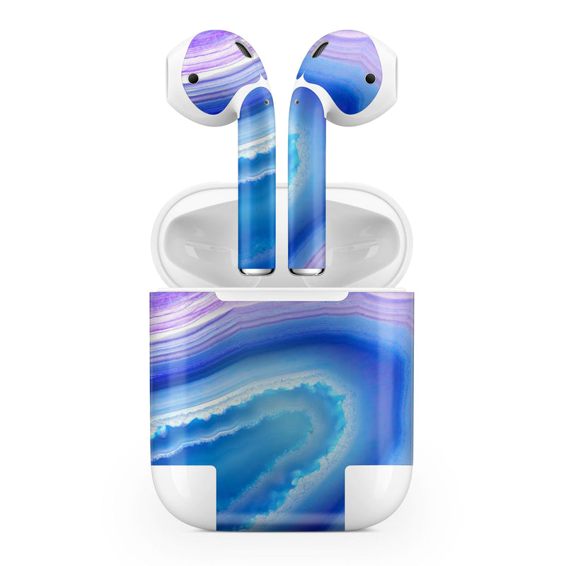 Blue & Purple Hue Agate - Full Body Skin Decal Wrap Kit for the Wireless Bluetooth Apple Airpods Pro, AirPods Gen 1 or Gen 2 with Wireless Charging