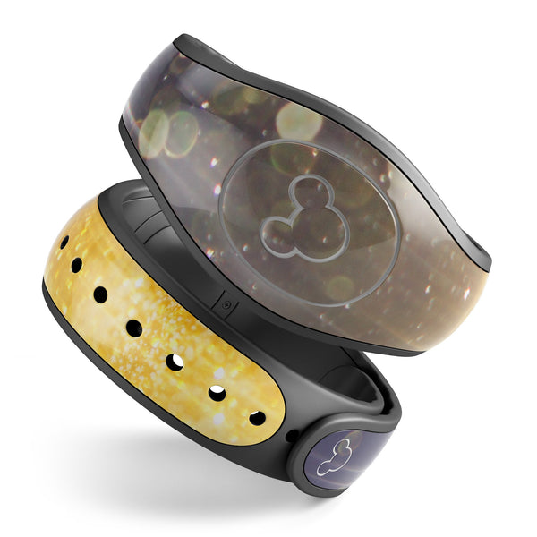 Blue Stratched Streaks with Unfocused Gold Sparkles - Decal Skin Wrap Kit for the Disney Magic Band