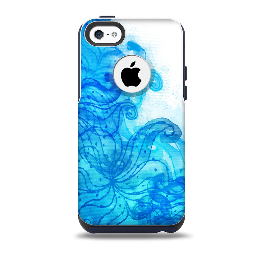 Blue Water Color Flowers Skin for the iPhone 5c OtterBox ...