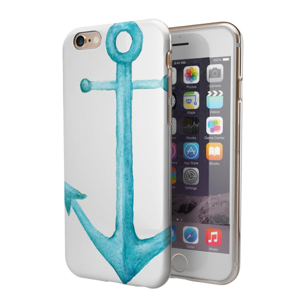 Blue Watercolor Anchor iPhone 6/6s or 6/6s Plus 2-Piece Hybrid INK-Fuzed Case