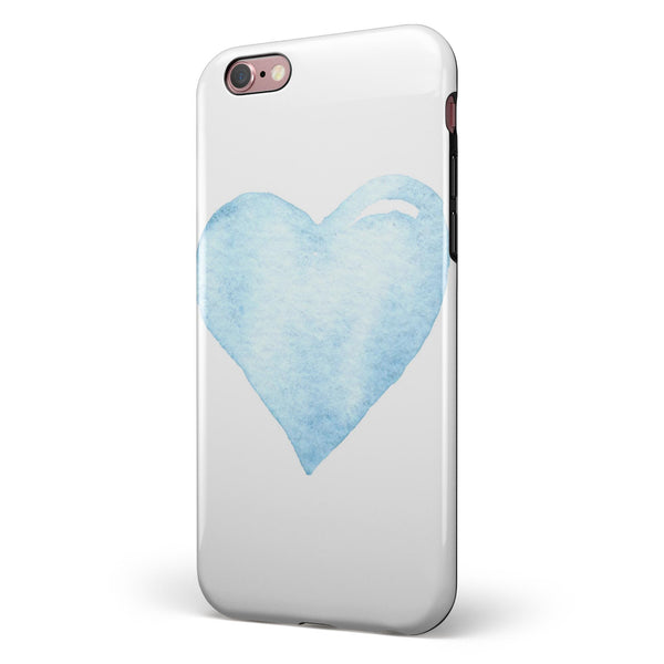 Blue Watercolor Heart iPhone 6/6s or 6/6s Plus 2-Piece Hybrid INK-Fuzed Case