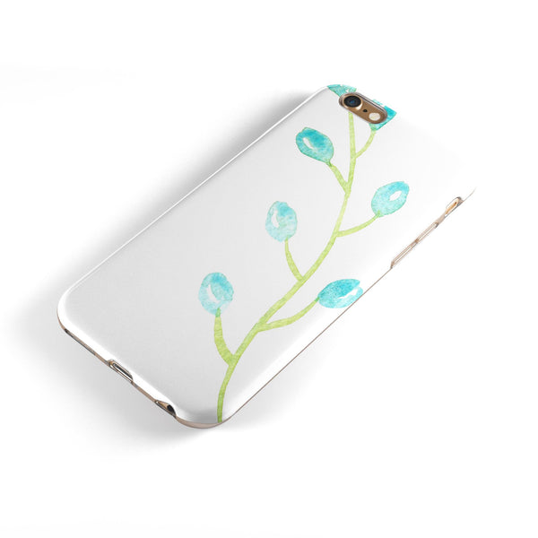 Blue Watercolor Olive Branch iPhone 6/6s or 6/6s Plus 2-Piece Hybrid INK-Fuzed Case