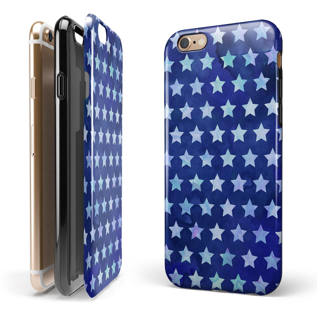 Blue Watercolor Stars iPhone 6/6s or 6/6s Plus 2-Piece Hybrid INK-Fuzed Case