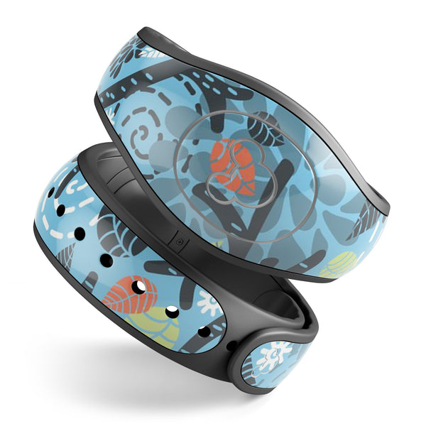Blue and Black Branches with Abstract Big Eyed Owls - Decal Skin Wrap Kit for the Disney Magic Band
