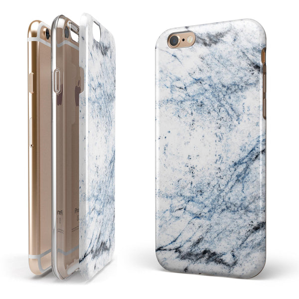 Blue and Black Grunge Over White Marble Surface iPhone 6/6s or 6/6s Plus 2-Piece Hybrid INK-Fuzed Case