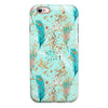 Blue and Coral Feathers Over Teal Strokes iPhone 6/6s or 6/6s Plus 2-Piece Hybrid INK-Fuzed Case