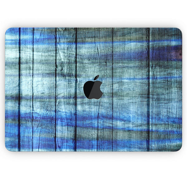 "Blue and Green Tye-Dyed Wood - Skin Decal Wrap Kit Compatible with the Apple MacBook Pro, Pro with Touch Bar or Air (11"", 12"", 13"", 15"" & 16"" - All Versions Available)"
