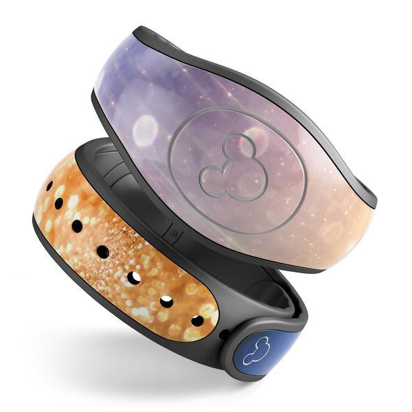 Blue and Orange Scratched Surface with Glowing Gold - Decal Skin Wrap Kit for the Disney Magic Band