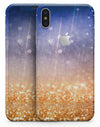 Blue and Orange Scratched Surface with Glowing Gold - iPhone X Skin-Kit
