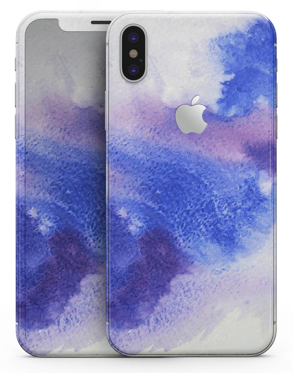 Blue and Pink Watercolor Spill - iPhone X Skin-Kit