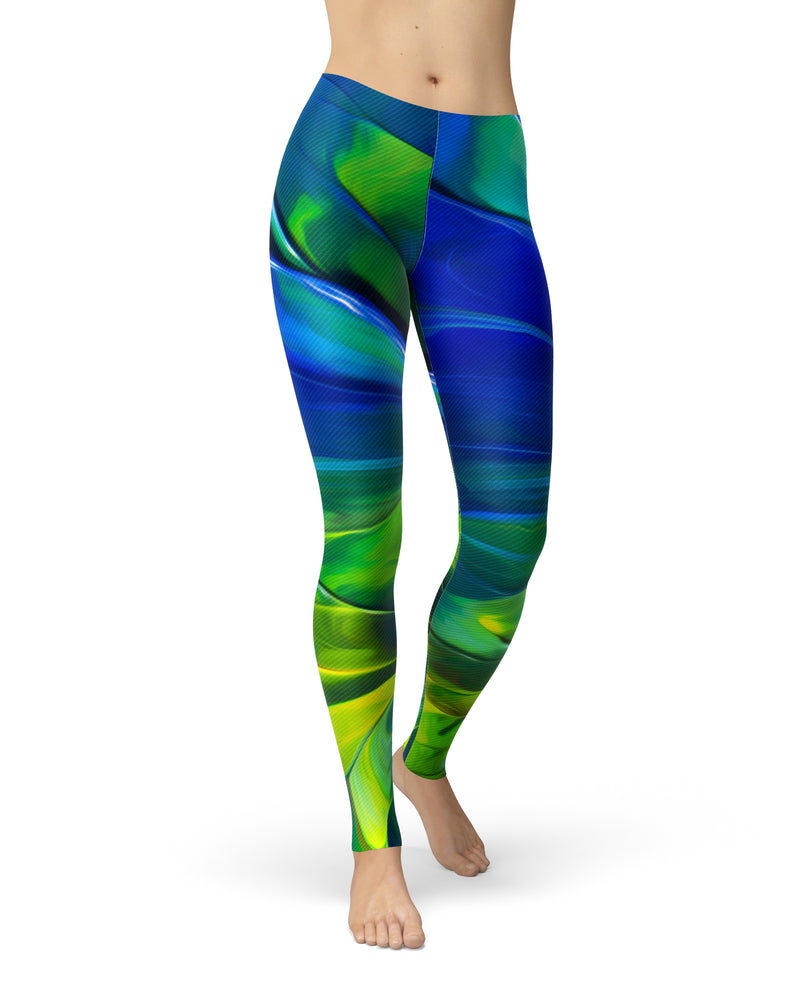 Blurred Abstract Flow V58 - All Over Print Womens Leggings / Yoga or Workout Pants