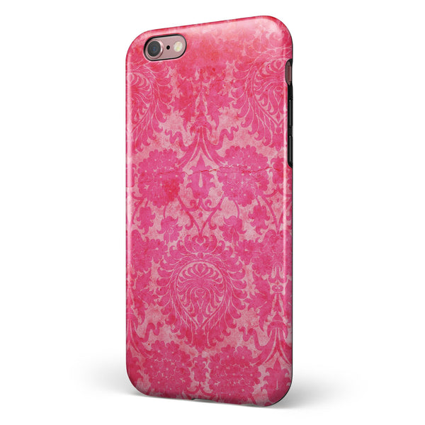 Bright Red Hue Floral Damask Pattern iPhone 6/6s or 6/6s Plus 2-Piece Hybrid INK-Fuzed Case