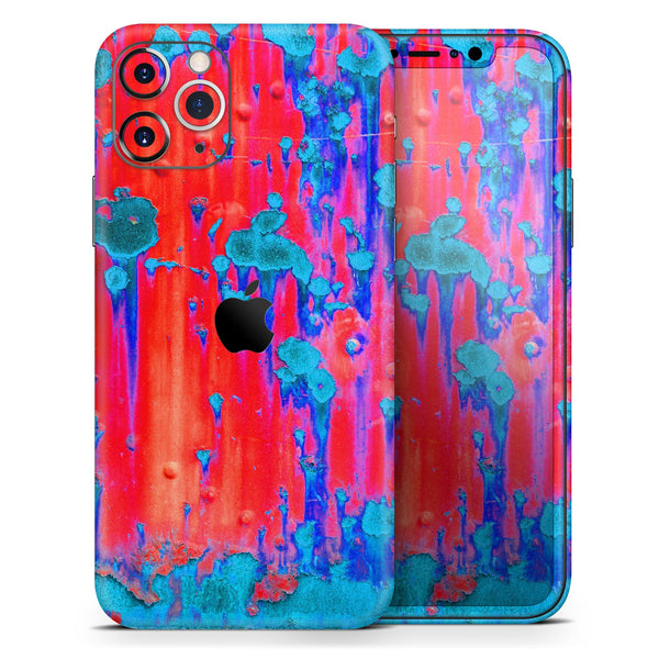 Bright Red v2 Metal with Turquoise Rust - Skin-Kit for the Apple iPhone 11, 11 Pro or 11 Pro Max