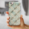 Brown Blue and Tan Circle Leaf Pattern iPhone 6/6s or 6/6s Plus 2-Piece Hybrid INK-Fuzed Case