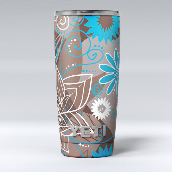 Brown_Surface_with_Blue_and_White_Whymsical_Floral_Pattern_-_Yeti_Rambler_Skin_Kit_-_20oz_-_V1.jpg