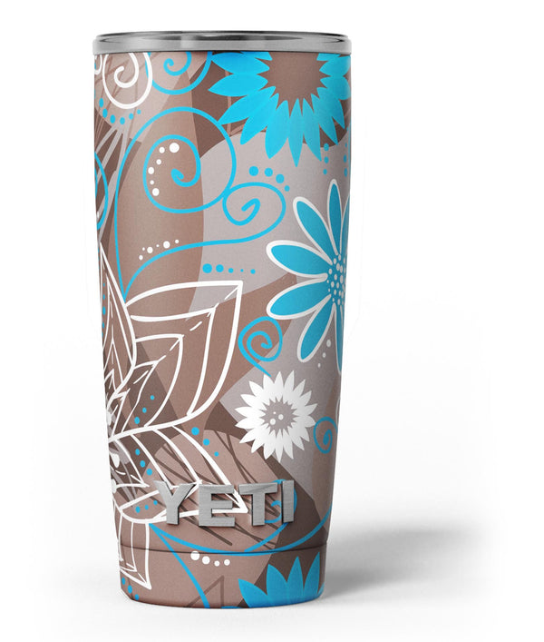 Brown_Surface_with_Blue_and_White_Whymsical_Floral_Pattern_-_Yeti_Rambler_Skin_Kit_-_20oz_-_V3.jpg