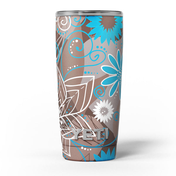 Brown_Surface_with_Blue_and_White_Whymsical_Floral_Pattern_-_Yeti_Rambler_Skin_Kit_-_20oz_-_V5.jpg