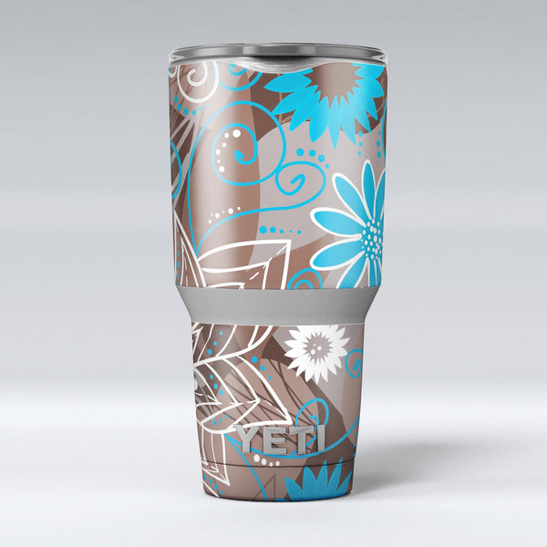 Brown_Surface_with_Blue_and_White_Whymsical_Floral_Pattern_-_Yeti_Rambler_Skin_Kit_-_30oz_-_V1.jpg