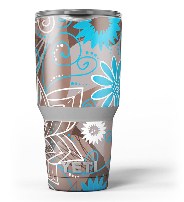 Brown_Surface_with_Blue_and_White_Whymsical_Floral_Pattern_-_Yeti_Rambler_Skin_Kit_-_30oz_-_V3.jpg