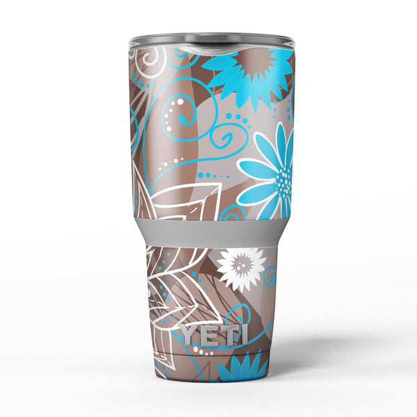 Brown_Surface_with_Blue_and_White_Whymsical_Floral_Pattern_-_Yeti_Rambler_Skin_Kit_-_30oz_-_V5.jpg