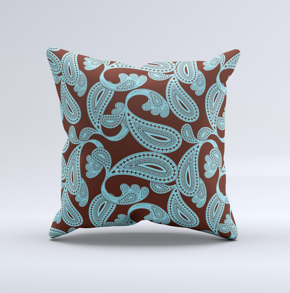 Brown and teal throw pillows - Brown Teal Paisley Pattern Ink Fuzed Decorative Throw Pillow