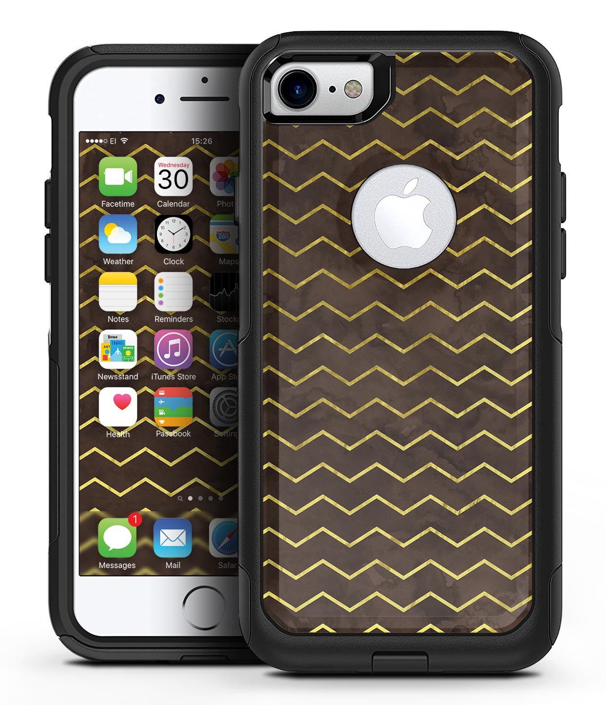 Brown and Gold Watercolor Cheveron - iPhone 7 or 7 Plus Commuter Case Skin Kit