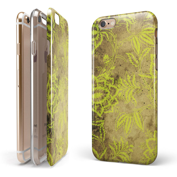Brown and Lime Green Floral Damask Pattern iPhone 6/6s or 6/6s Plus 2-Piece Hybrid INK-Fuzed Case