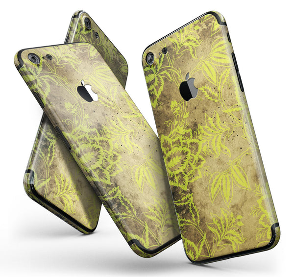 Brown_and_Lime_Green_Floral_Damask_Pattern_-_iPhone_7_-_FullBody_4PC_v11.jpg
