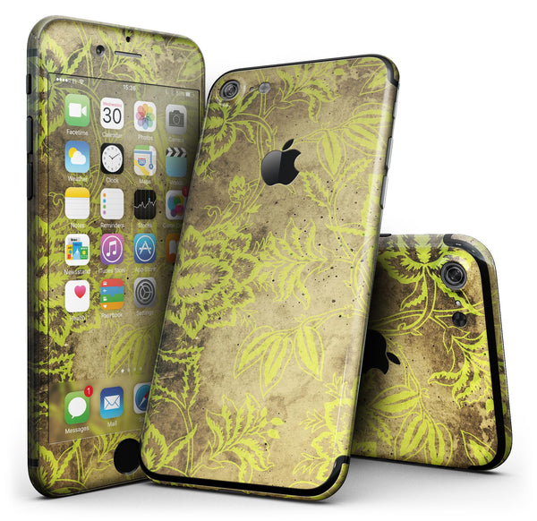 Brown_and_Lime_Green_Floral_Damask_Pattern_-_iPhone_7_-_FullBody_4PC_v1.jpg
