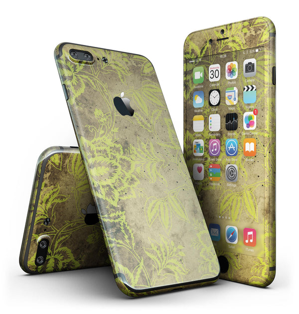 Brown_and_Lime_Green_Floral_Damask_Pattern_-_iPhone_7_Plus_-_FullBody_4PC_v2.jpg