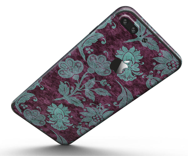 Burgundy_and_Turquoise_Floral_Velvet_-_iPhone_7_Plus_-_FullBody_4PC_v5.jpg