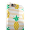 Cartoon Pineapples Over Stripes iPhone 6/6s or 6/6s Plus 2-Piece Hybrid INK-Fuzed Case