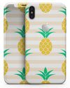 Cartoon Pineapples Over Stripes - iPhone X Skin-Kit