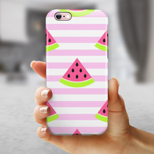 Cartoon Watermelon Over Pink Stripes iPhone 6/6s or 6/6s Plus 2-Piece Hybrid INK-Fuzed Case