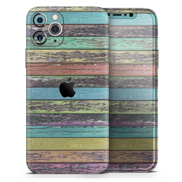 Chipped Pastel Paint on Wood 2 - Skin-Kit for the Apple iPhone 11, 11 Pro or 11 Pro Max