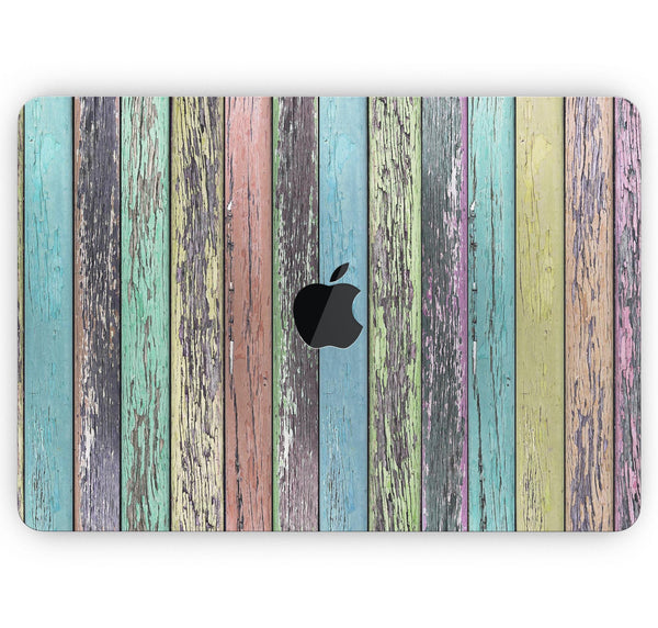 "Chipped Pastel Paint on Wood - Skin Decal Wrap Kit Compatible with the Apple MacBook Pro, Pro with Touch Bar or Air (11"", 12"", 13"", 15"" & 16"" - All Versions Available)"