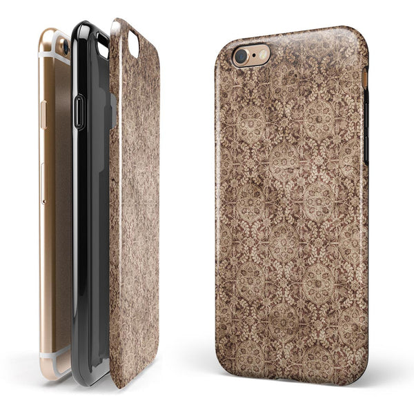 Cocoa Vintage White Feathers iPhone 6/6s or 6/6s Plus 2-Piece Hybrid INK-Fuzed Case