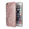 Cocoa and Light Pink Floral Cross Pattern iPhone 6/6s or 6/6s Plus 2-Piece Hybrid INK-Fuzed Case