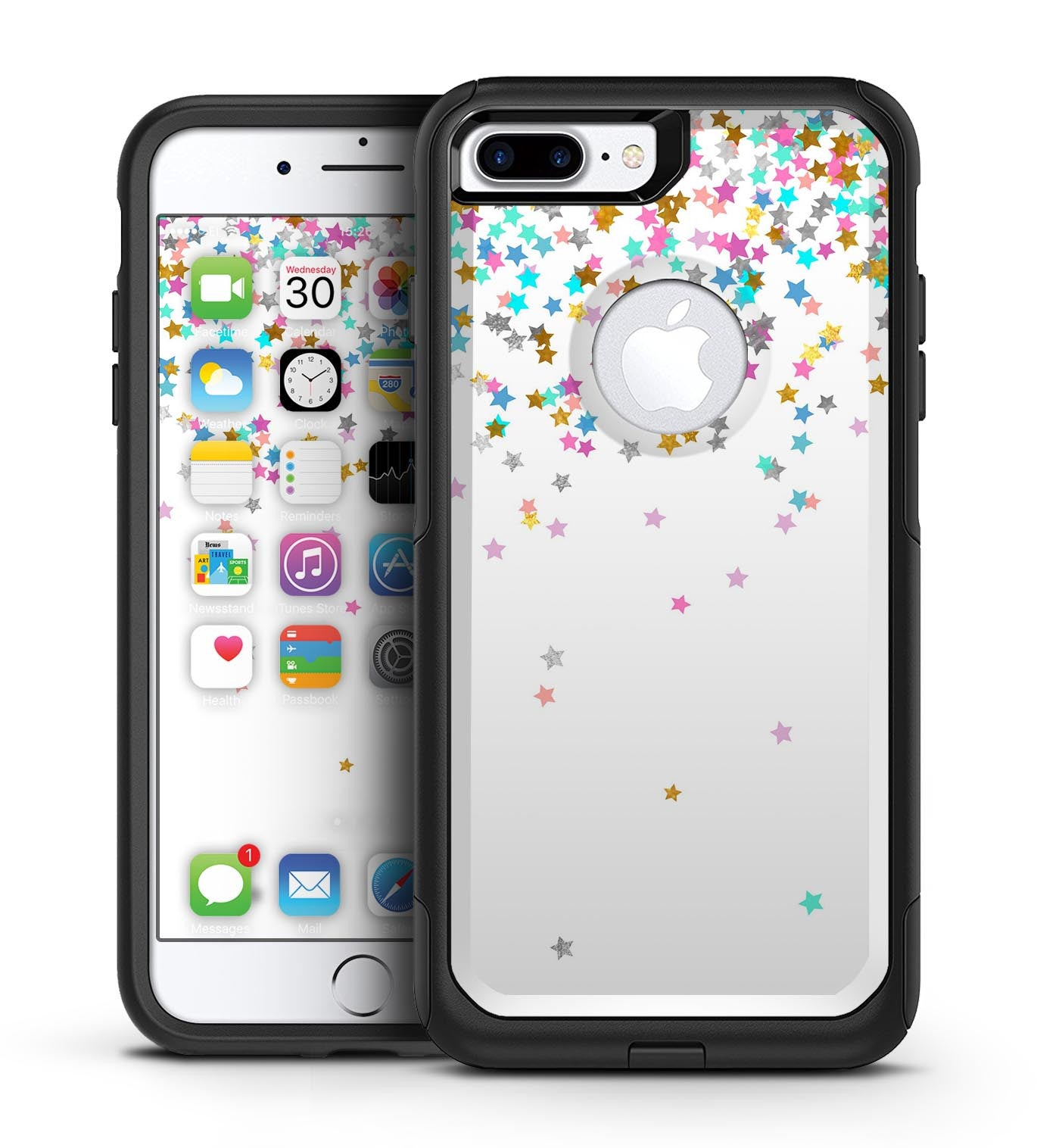 Colorful Falling Stars Over White - iPhone 7 or 7 Plus Commuter Case Skin Kit