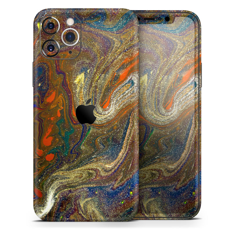 Colorful Gold Mixed Acrylic - Skin-Kit for the Apple iPhone 11, 11 Pro or 11 Pro Max