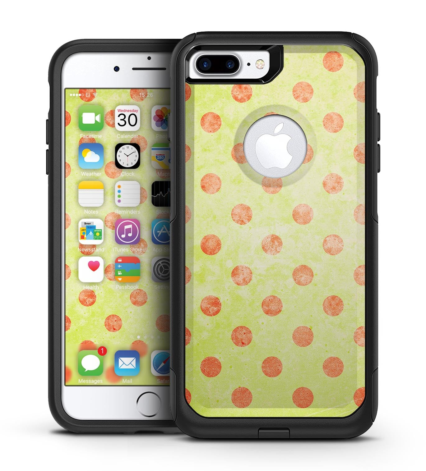 Coral Polka Dots Over Grunge Yellow - iPhone 7 or 7 Plus Commuter Case Skin Kit