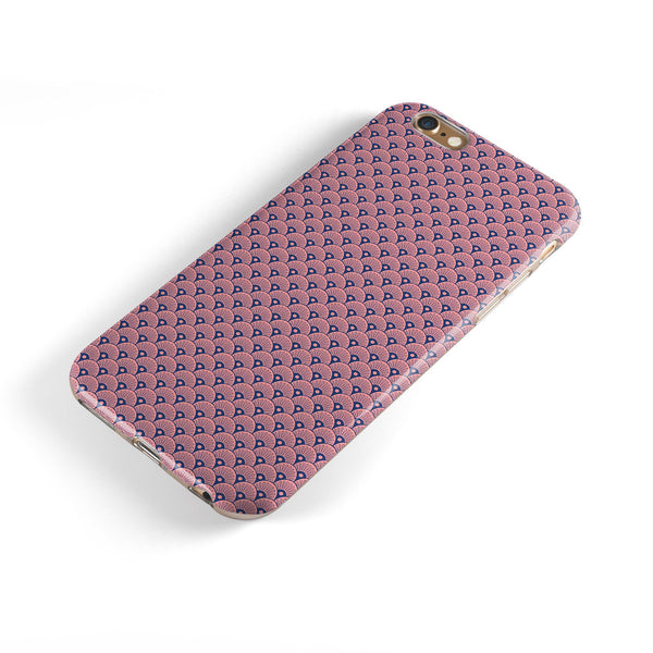 Coral SemiCircles Over Navy iPhone 6/6s or 6/6s Plus 2-Piece Hybrid INK-Fuzed Case