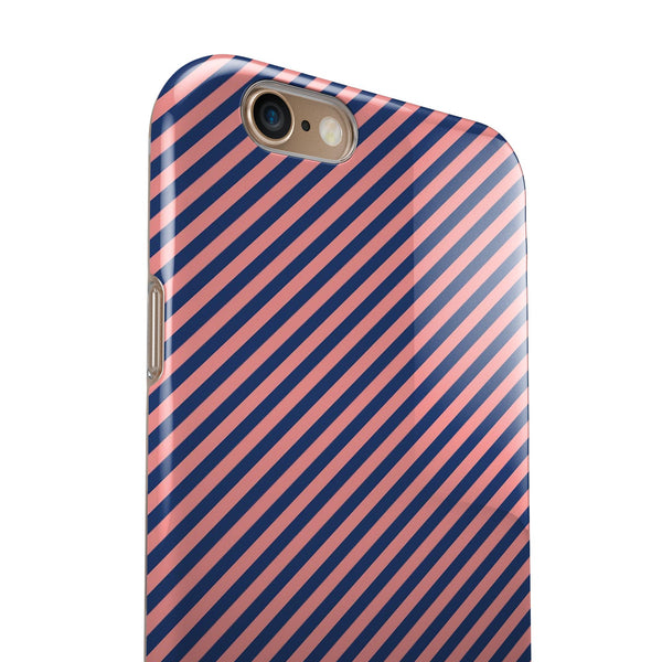 Coral and Navy Blue Diagnoal Stripes iPhone 6/6s or 6/6s Plus 2-Piece Hybrid INK-Fuzed Case