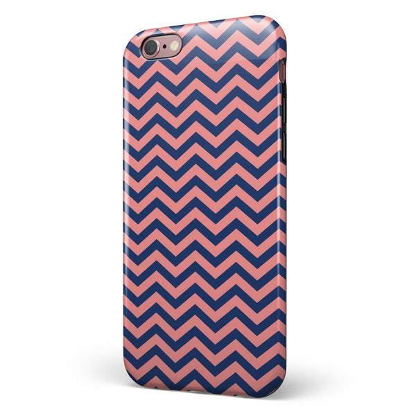 Coral and Navy Chevron Pattern iPhone 6/6s or 6/6s Plus 2-Piece Hybrid INK-Fuzed Case