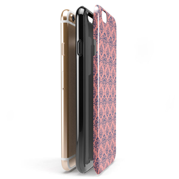 Coral and Navy Damask Pattern iPhone 6/6s or 6/6s Plus 2-Piece Hybrid INK-Fuzed Case