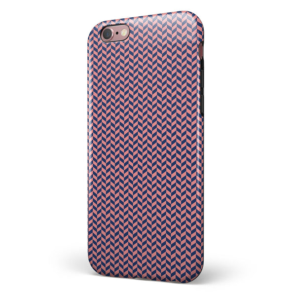 Coral and Navy Micro Woven Pattern iPhone 6/6s or 6/6s Plus 2-Piece Hybrid INK-Fuzed Case