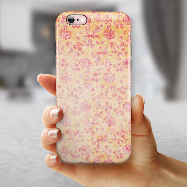 Coral and Pink Faded Flower Field  iPhone 6/6s or 6/6s Plus 2-Piece Hybrid INK-Fuzed Case