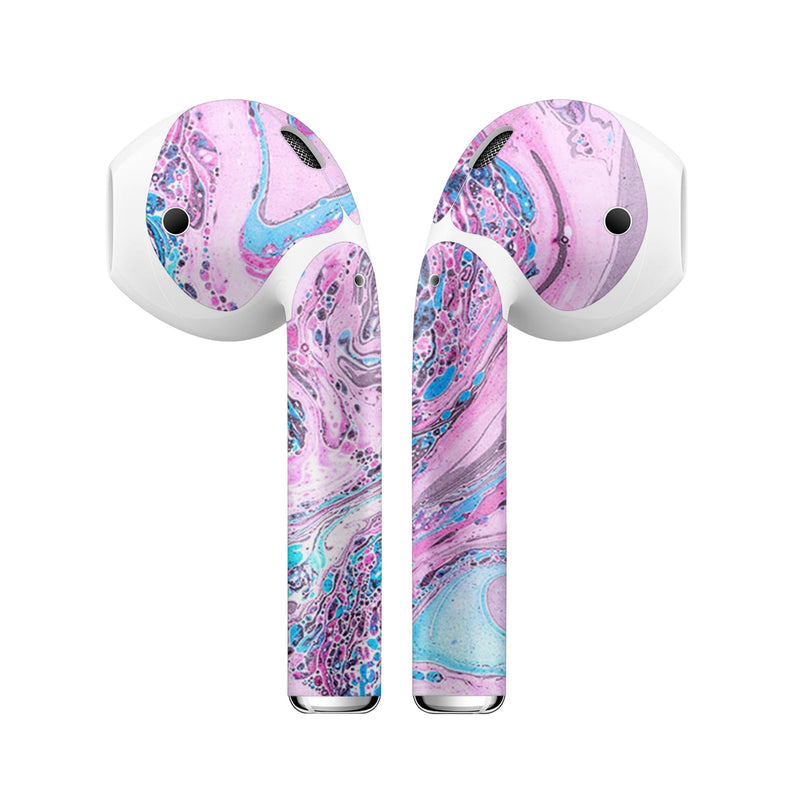 Cotton Candy Oil Mix V3 - Full Body Skin Decal Wrap Kit for the Wireless Bluetooth Apple Airpods Pro, AirPods Gen 1 or Gen 2 with Wireless Charging