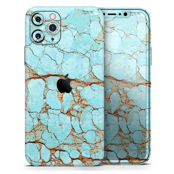 Cracked Teal Stone - Skin-Kit for the Apple iPhone 11, 11 Pro or 11 Pro Max