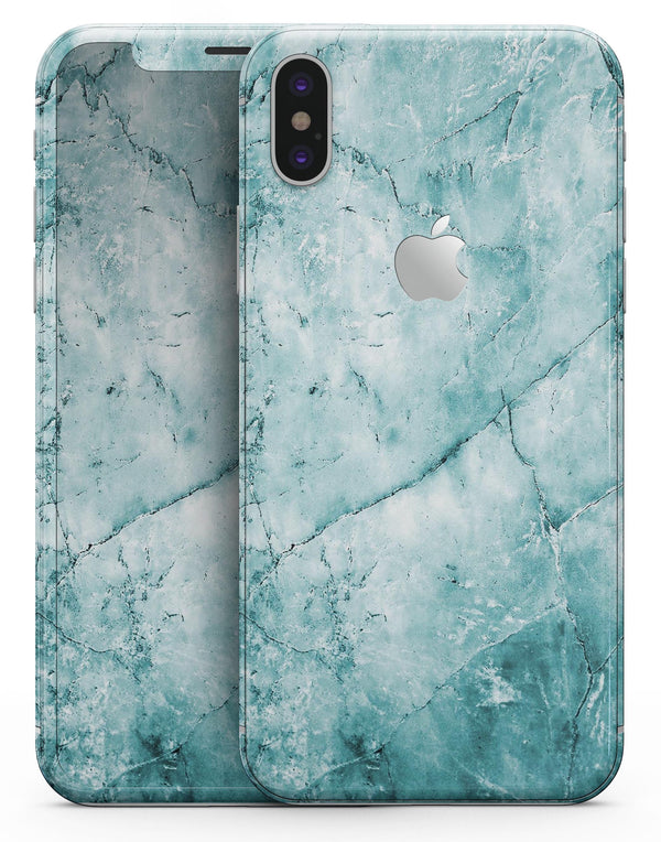 Cracked Turquise Marble Surface - iPhone X Skin-Kit